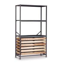 Gratnells Triple Column High Frame 1850mmH, 2 Metal & 6 Wooden Shelves