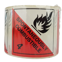 Labels DG, Spontaneously Combustible 50 x 50mm DISCONTINUED